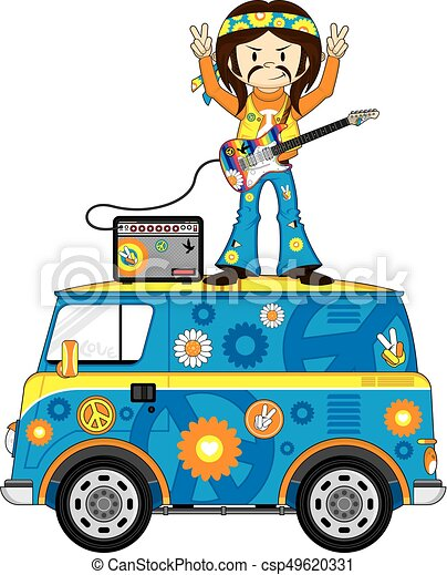 hippie on camper van cute cartoon flower power hippie vectors rh canstockphoto ie hippie clip art images hippie clipart