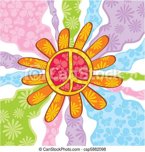 Hippie peace symbol - csp5882098