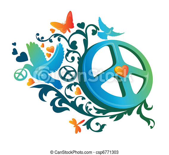 Abstract Artistic Hippie Peace Symbol Vector Illustration Vectors
