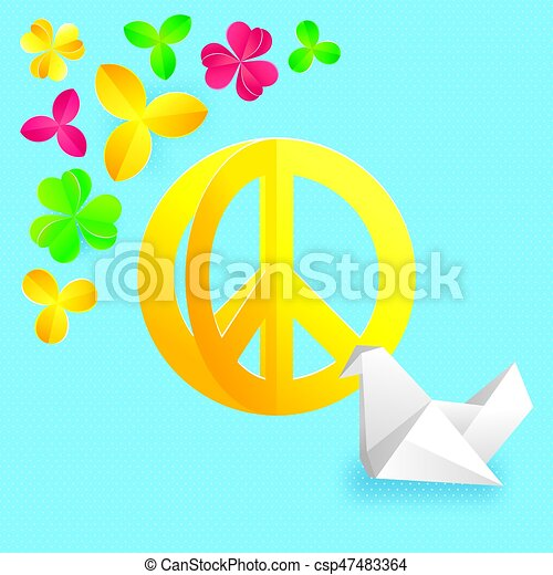 Hippie Peace Symbol With Flowers And Origami Vector Clip Art