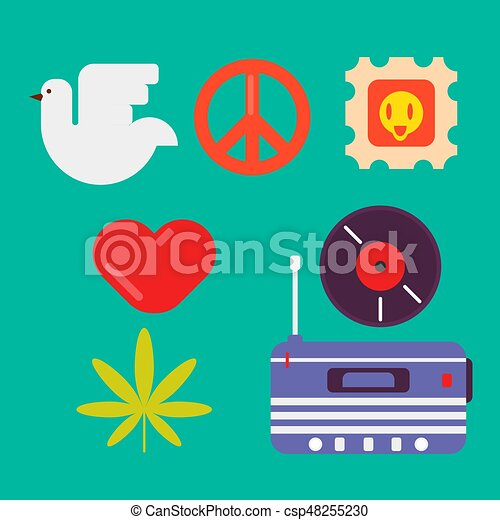 Hippie symbols of peace colorful set isolated vector illustration - csp48255230