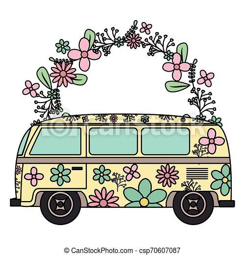 Royalty-Free (RF) Clipart Illustration of an Orange Floral Hippie Bus Van  by Rosie Piter #210485