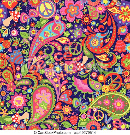 Hippie vivid wallpaper with abstract colorful flowers, hippie peace symbol, mushrooms and paisley - csp49279514