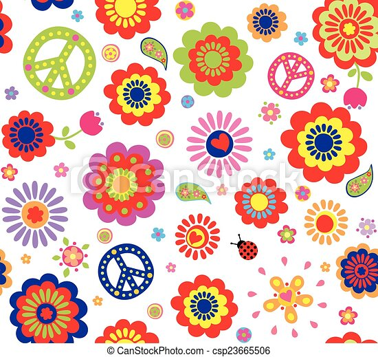 Fiori Hippie.Hippie Wallpaper With Abstract Flowers