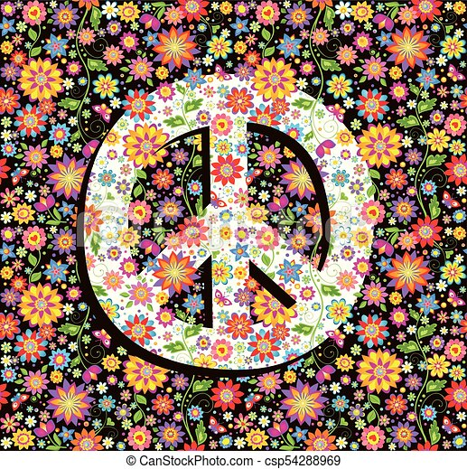 Hippie Wallpaper With Flowers Print And Peace Symbol Clip Art Vector