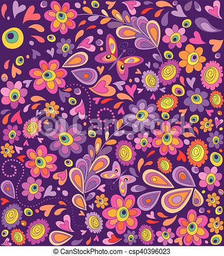 Fiori Hippie.Hippie Wallpaper With Funny Flowers Print And Butterflies