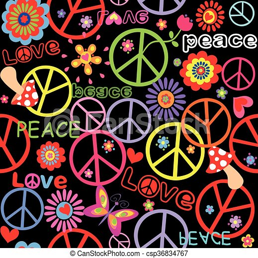 Hippie Wallpaper With Peace Symbol Mushrooms And Abstract Clip