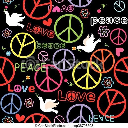 Hippie Wallpaper With Peace Symbol And Doves Eps Vectors Search