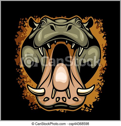 Hippo face on grunge background - csp44368598