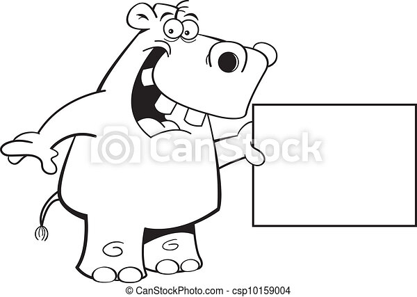 Hippo with a sign - csp10159004