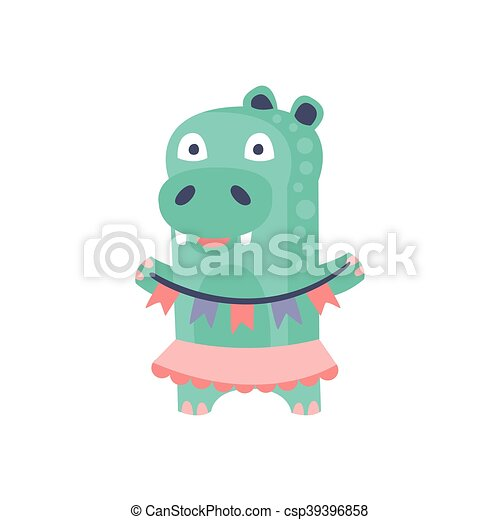 Hippo With Party Attributes Girly Stylized Funky Sticker - csp39396858