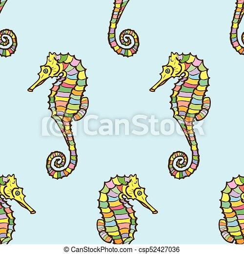 Hippocampe Seahorse Couleur Modèle Seamless Vecteur