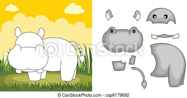 hippopotame, puzzle - csp9179692