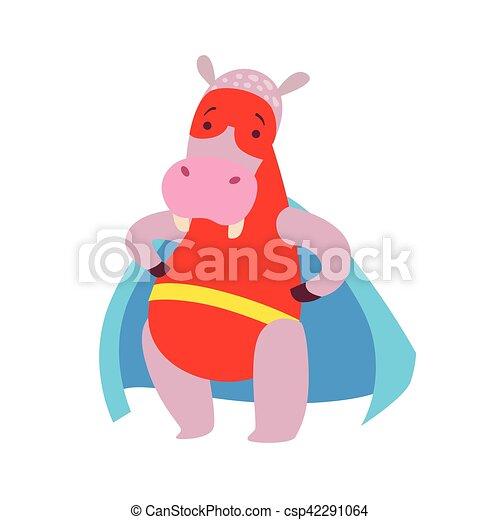 Hippopotame Superhero Habillé Caractère Masqué Animal Cap
