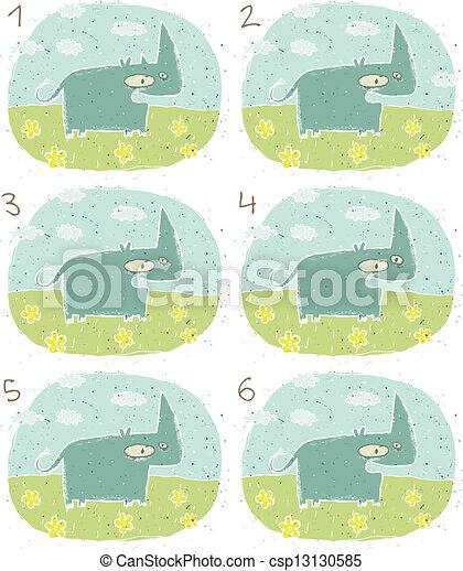 hippopotame, visuel, jeu, heureux - csp13130585