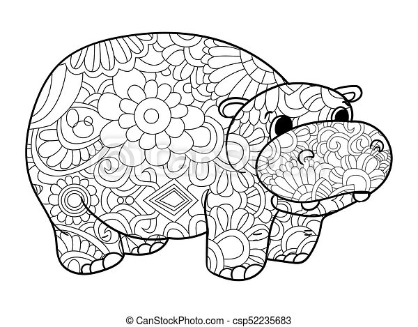 Hippopotamus Coloring Vector For Adults Animal