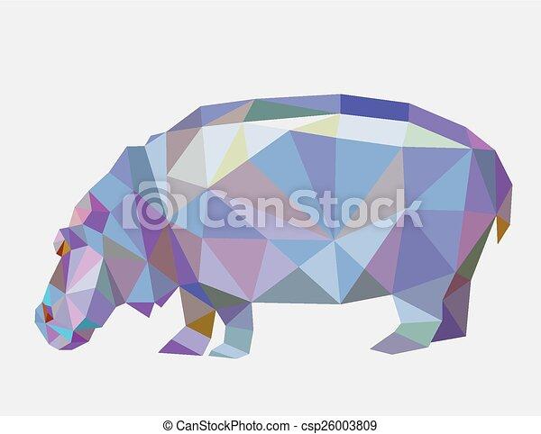 Hippopotamus triangle low polygon - csp26003809