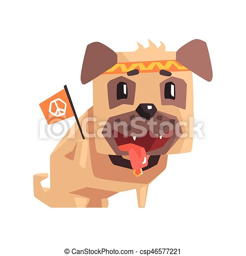 Hippy Little Pet Pug Dog Puppy With Collar Holding Flag With Peace