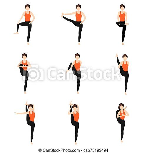 Hips Stretching Standing Yoga Asanas Set Illustration Stylized Woman Practicing Yoga Postures With Legs Extension