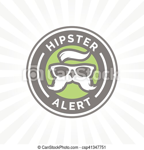 Hipster alert icon with hippie glasses and mustache symbol. - csp41347751