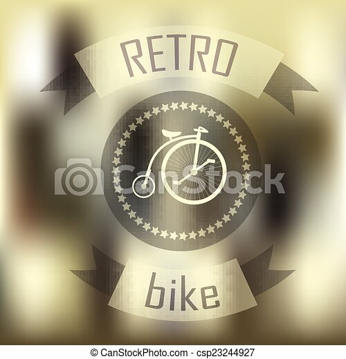 Hipster blur retro vintage label background with bicycle - csp23244927