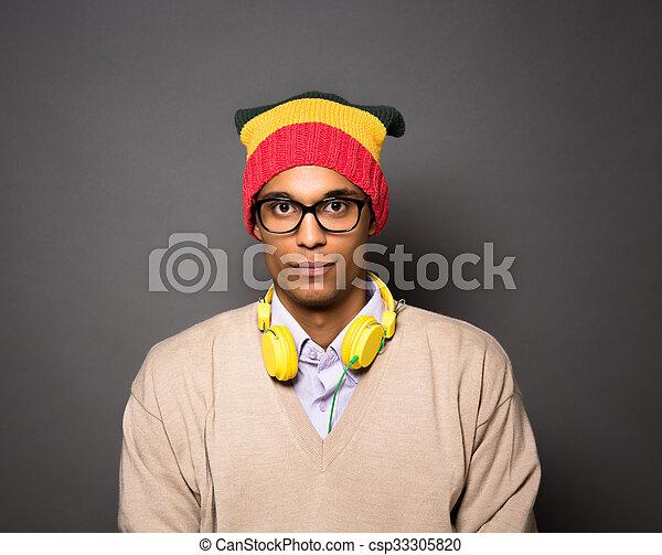 hipster, brésilien, studio, homme - csp33305820
