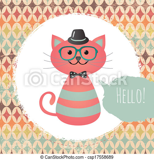 hipster, cadre, chat, textured, conception, illustration - csp17558689