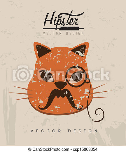 Hipster Cat Design Over Rustic Background Vector Clipart