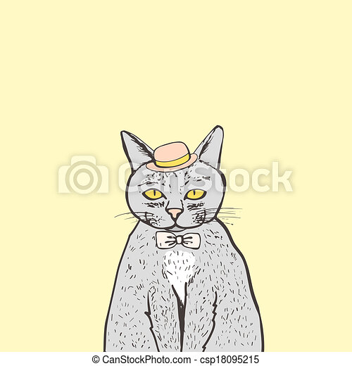 Hipster Cat Isolated On Background