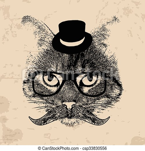 Grunge Background With A Stylized Cat Face Mustache Hipster