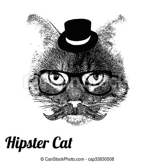 Grunge Background With A Stylized Cat Face Mustache Vector