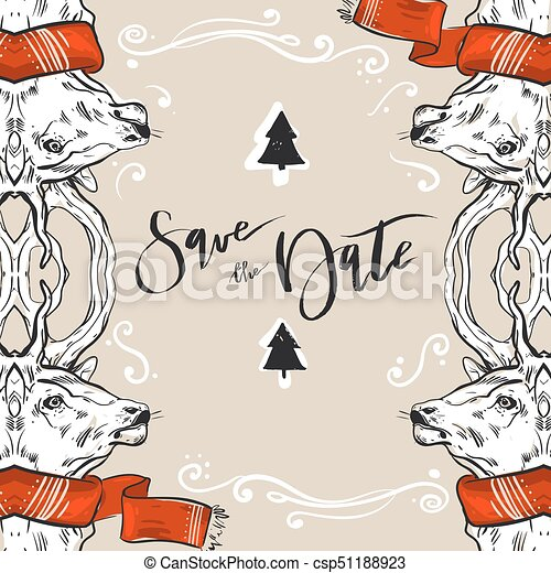 Christmas Save The Date Graphics.Hipster Christmas Card Deer Antlers Gold Texture