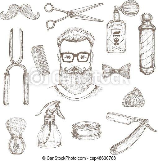 Elementos de hipster y barbero - csp48630768