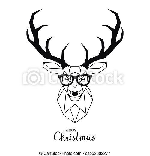 44fff097c45 Hipster deer with glasses. modern geometric vector illustration.