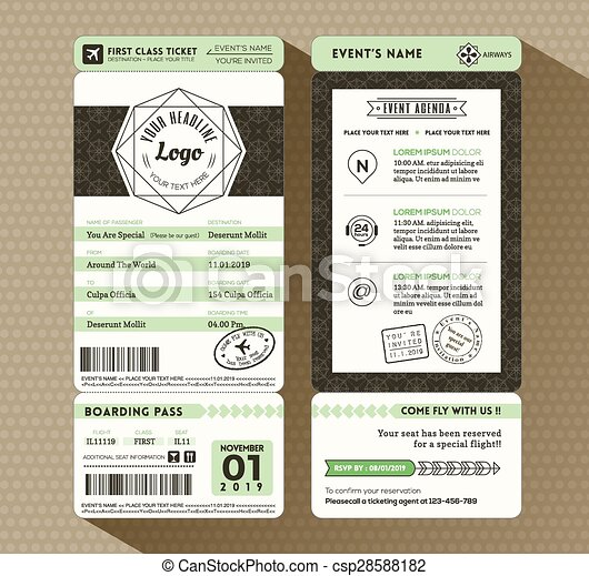 Hipster Design Boarding Pass Ticket Event Invitation Card Template