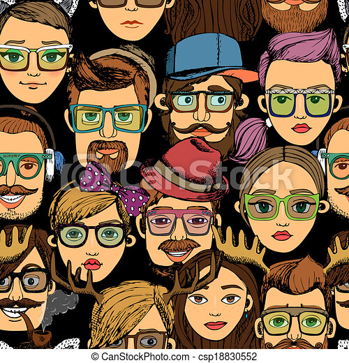 hipster faces seamless background print - csp18830552