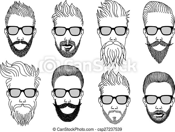 hipster faces with beard, vector  - csp27237539