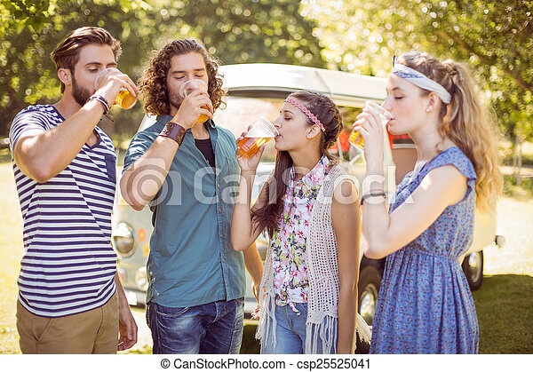 Hipster friends having a beer together - csp25525041