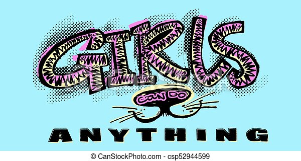 hipster funky t shirt girls motivation print in graffiti urban stylegirls can do