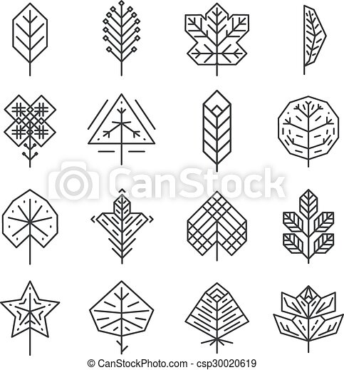 Hipster geometric thin line leaves for logos and emblems ...