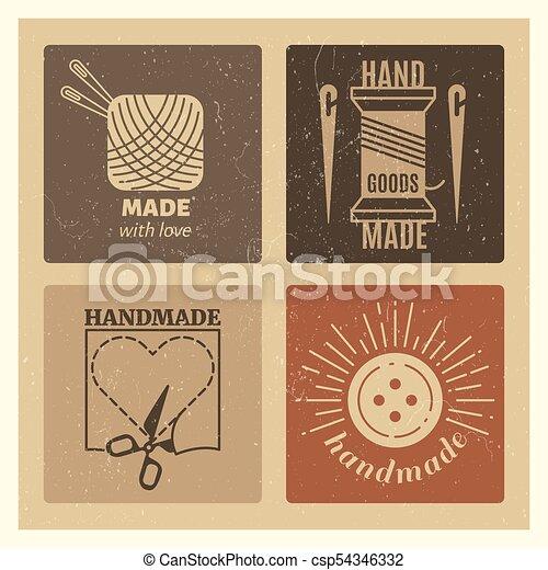Hipster Grunge Handmade Badges Design Needlework Vintage Emblem