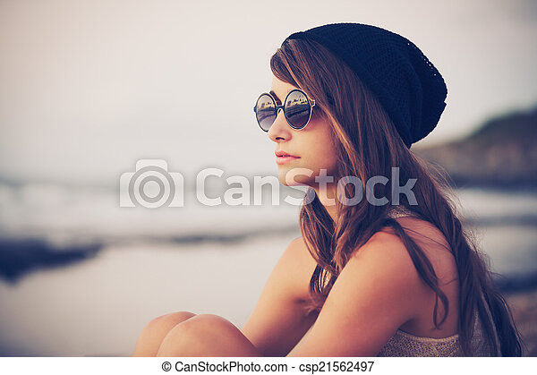 hipster, kobieta, fason, młody - csp21562497