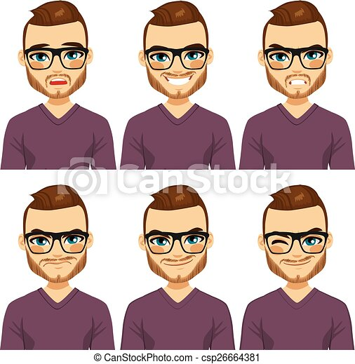 Hipster Man Different Expressions - csp26664381