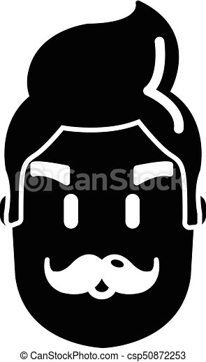 Hipster man face icon , simple style - csp50872253