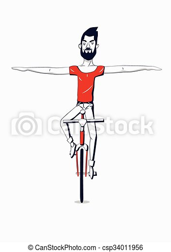 Hipster man riding a bike without h - csp34011956