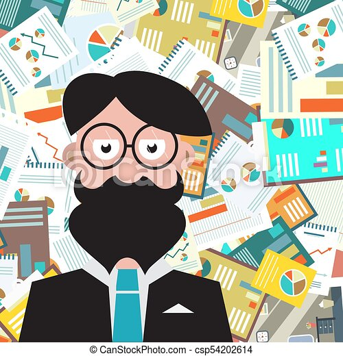 Hipster Man with Paperwork Background - csp54202614