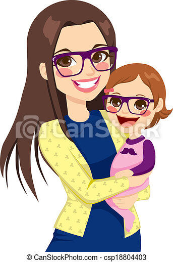Hipster Mom And Baby - csp18804403