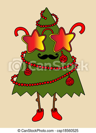 hipster new year tree with star glasses and moustaches christmas