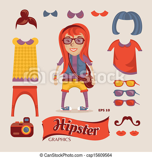Hipster pretty girl with hipster accessories - csp15609564