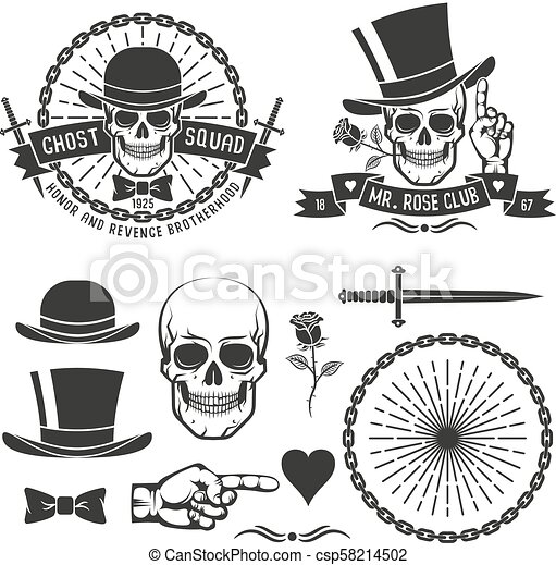 d30ae00c Hipster retro gangster emblem with a skull in an old hat with daggers,  rose, chains and ribbons. as well as some vintage design elements. vector  ...